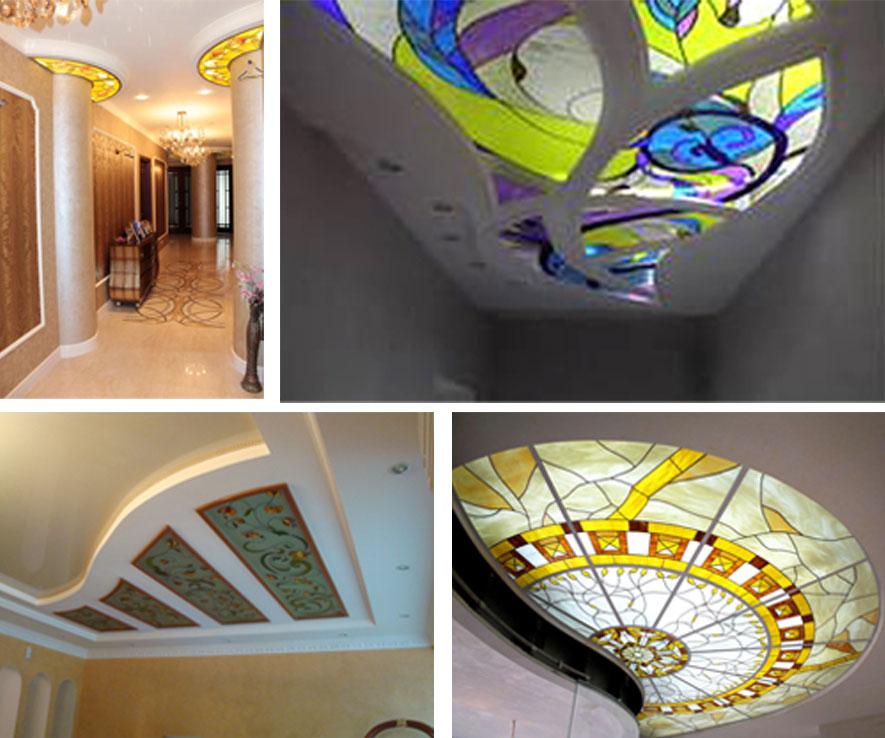 Витражный потолок с подсветкой своими руками 72